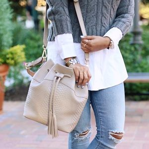Gigi NY Jenn Bucket Bag Embossed Python Off white